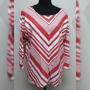 Red and white diagonal stripe shirt